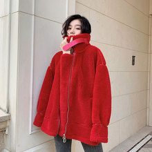 New Granular Woolen Coat Women Autumn and Winter 2019 Patchwork Compound Double-faced Fur Loose Wool Jacket Outerwear