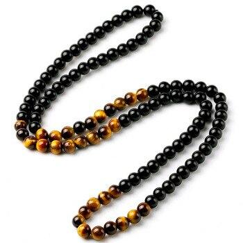Onyx collier en perles d oeil de tigre pour hommes et femmes collier en obsidienne en