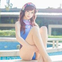 DM COS Anime Swimsuits  Cosplay Costume D.VA SUKUMIZU Spandex Swimsuit DVA Su Ku Water One-piece