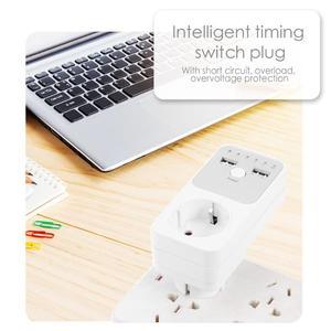 Image 5 - Dual Usb Eu Plug Timing Socket Tijdschakelaar Countdown Outlet Controller Smart Elektrische Huishoudelijke Socket Plug Adapter