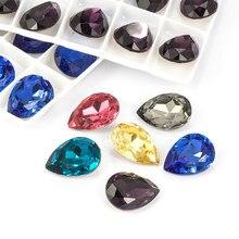 Colorido Brilhante Gota de Lágrima K9 Pointback Vidro Strass De Vidro de Alta Qualidade Cola De Cristal em Garment Artesanato Jóias Acessórios
