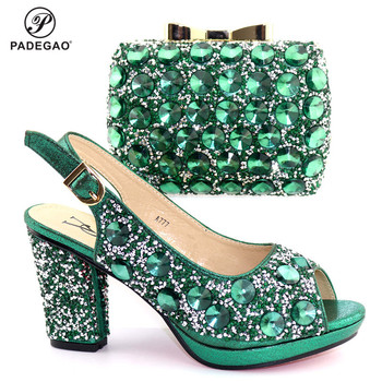 New Arrival Spring Green Color Sandals Shoes And Bags Set Fashion African Women High Heels Shoes And Bag Set For Evening Party