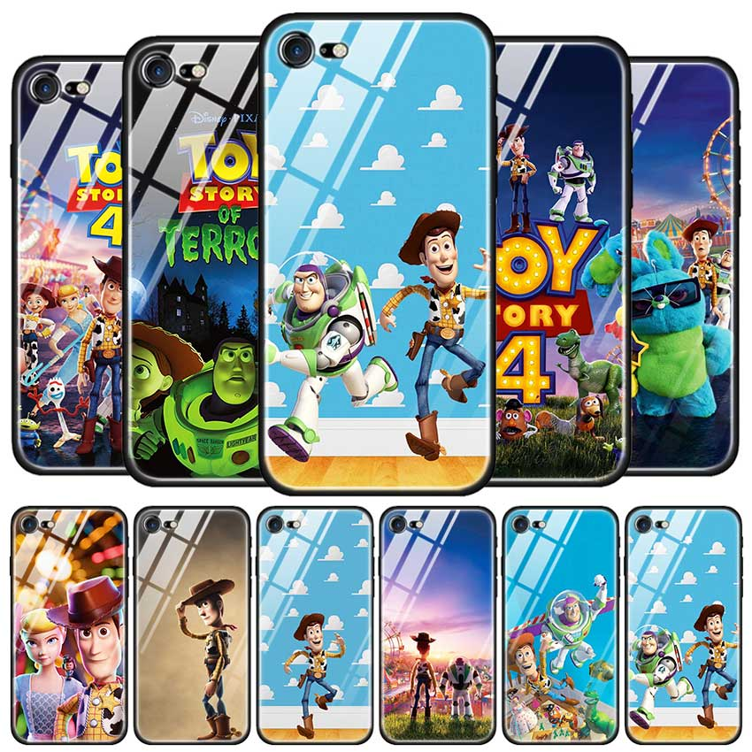 Tempered Glass Case for Apple <font><b>iPhone</b></font> 8 7 6 6S Plus Case Cover for <font><b>iPhone</b></font> 11 11Pro XS MAX <font><b>XR</b></font> X Cute Cartoon <font><b>Toy</b></font> <font><b>Story</b></font> 4 Buzz Ligh image