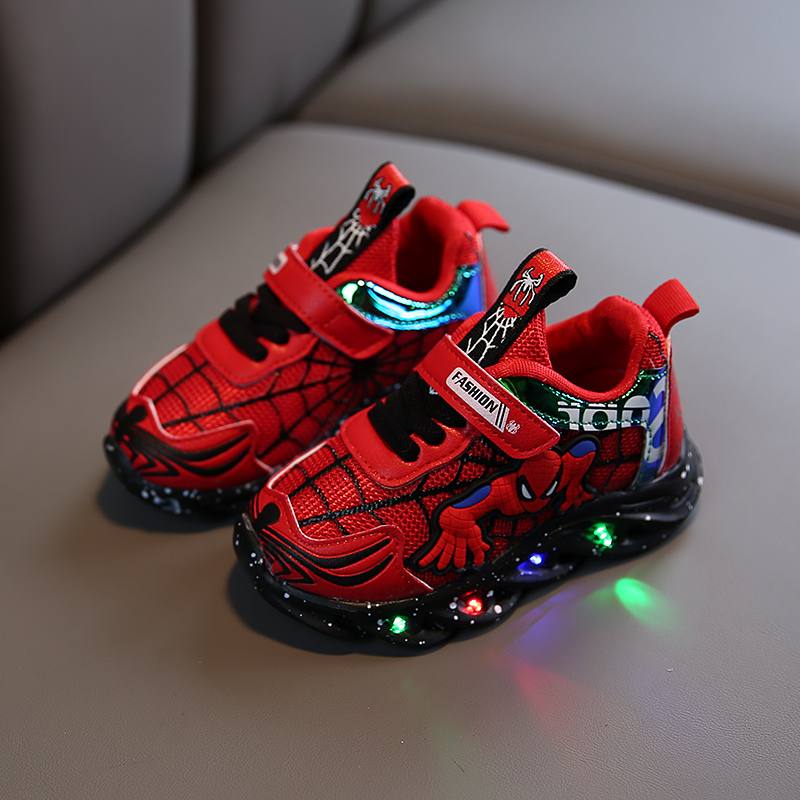 Boys sneaker girls spiderman kids led shoes with lights sneaker 2020 spring autumn shoes children toddler baby girl shoes