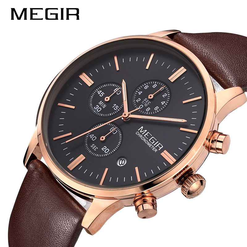 MEGIR New Fashion Mens Watches Militray Sport Quartz Watch Leather Waterproof Male Wristwatches Clock Men Relogio Masculino