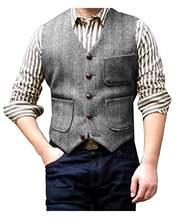 Жилет мужской шерстяной в елочку с тремя карманами и v образным