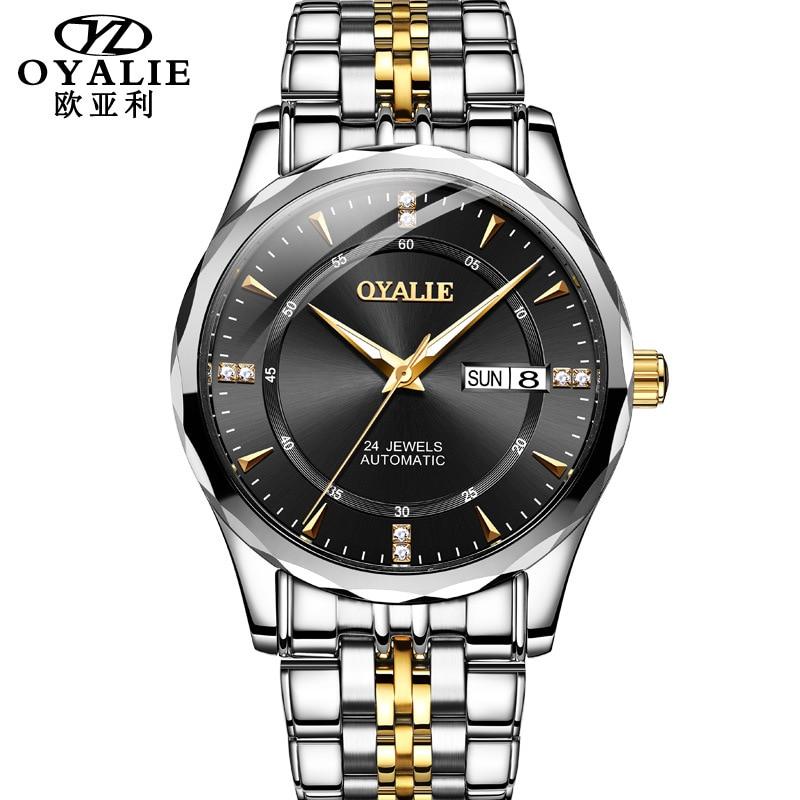 Permalink to Automatic mechanical watch imported tungsten steel movement calendar week waterproof men's mechanical watches