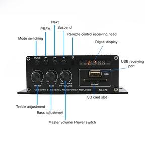 Image 5 - AK370 صوت صغير مكبر كهربائي BT استقبال الصوت الرقمي أمبير ذاكرة يو إس بي فتحة للبطاقات مشغل MP3 راديو FM مع جهاز التحكم عن بعد