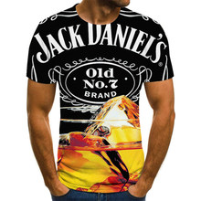 Verano hombres 3D camiseta tiempo de cerveza manga corta cuello redondo de moda impresin en 3Ds camisetas Streetwear camiseta