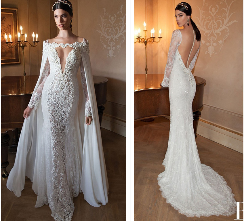 Vestido De Noiva Sereia 2018 Vintage Lace Beaded Mermaid Long Sleeve Berta Bridal Gown With Wrap Mother Of The Bride Dresses
