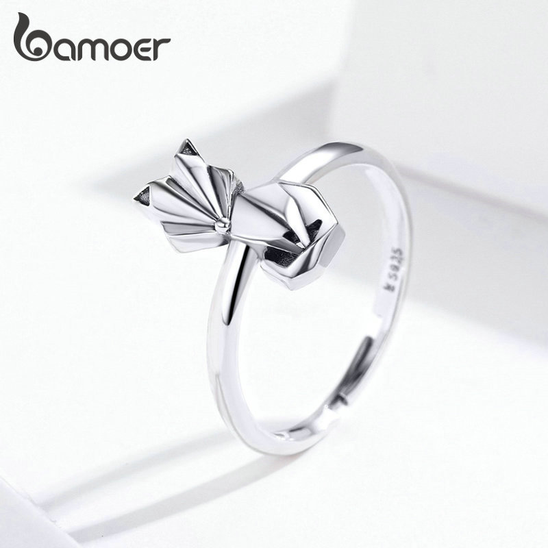 Bamoer HOT SALE FOX Floding Adjustable Rings For Women 925 Sterling Silver Animal Ring Band Fine Jewelry Bijoux SCR560