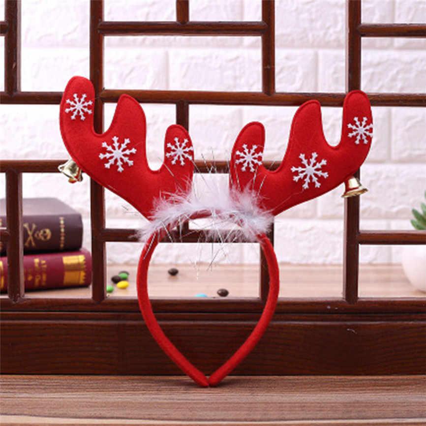 Diadema de ciervo de Navidad para adultos, accesorios de fotografía de la cabeza del pelo de la oreja de Navidad accesorios de diadema de astas de la campana de Navidad Universal para mujer 15