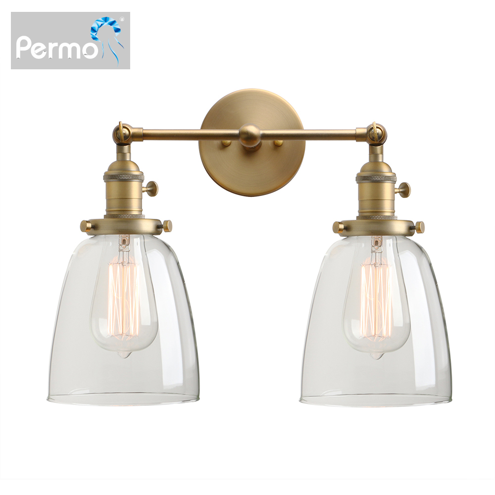 Permo  2-Light Vintage Style Industrial Wall Light Sconce Light Fixture With 5.6Inches Oval Cone Clear Glass Shade