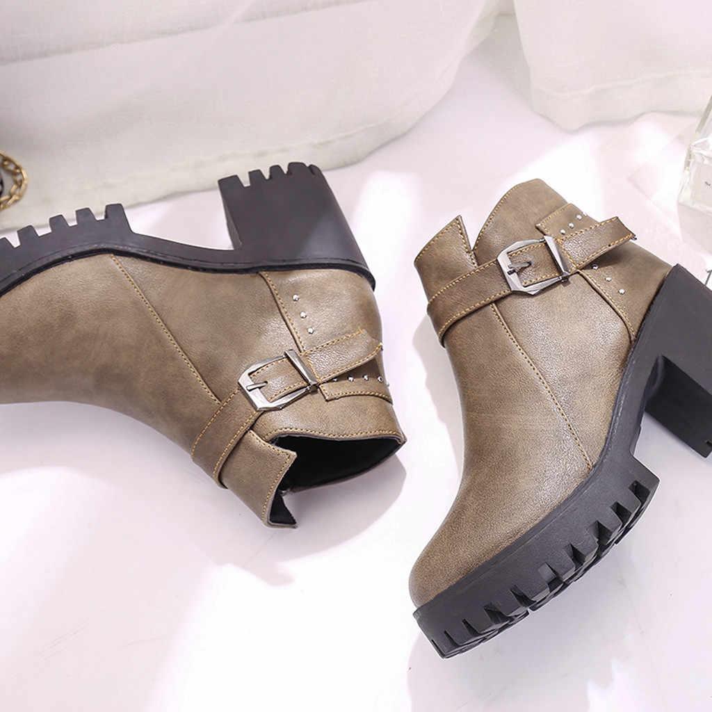 Đinh tán Xe Máy Nữ Ủng Da Cá Nữ Thời Trang Mùa Đông Ngắn Giày Boot Cao Gót Giày Các Nền Tảng Martin Boot Khóa