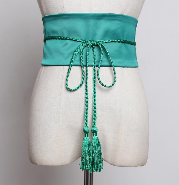 Women's Runway Fashion Satin Tassel Cummerbunds Female Dress Corsets Waistband Belts Decoration Wide Belt R2251