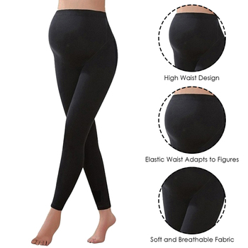 Winter Leggings Trousers Warm Solid Pregnancy Clothes For Pregnant Women High Waist Stretch Pencil Pants Black Trousers Pants 2
