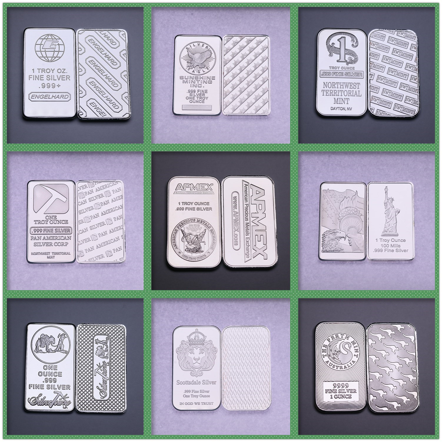 From The United States Switzerland Germany 1 oz Silver Bar Bullion Silver-plated Brass Core Crafts Collection Gift