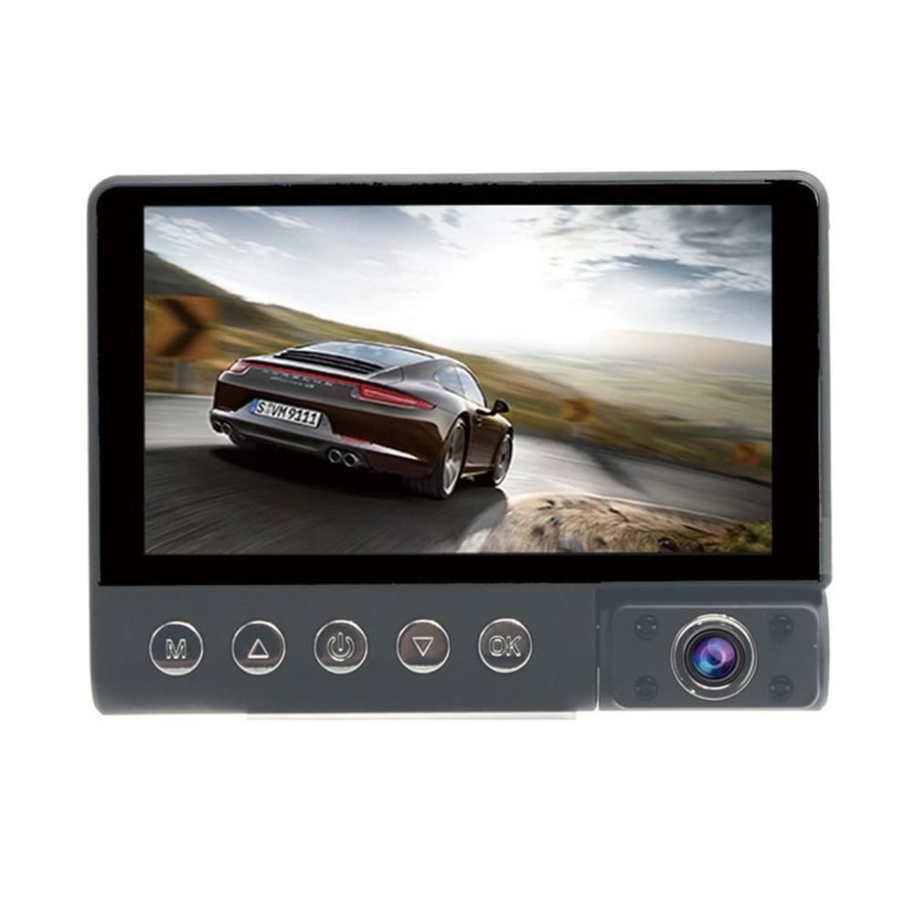 Driving Recorder 4 Inch Three-Way Car Inside And Outside Hd Three Lens Front And Rear