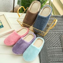Men Warm Home Plush Soft Slippers Indoors Anti-slip Winter Floor Bedroom Shoes Large Size Male 42-45 Cover Toe Flock Flats(China)