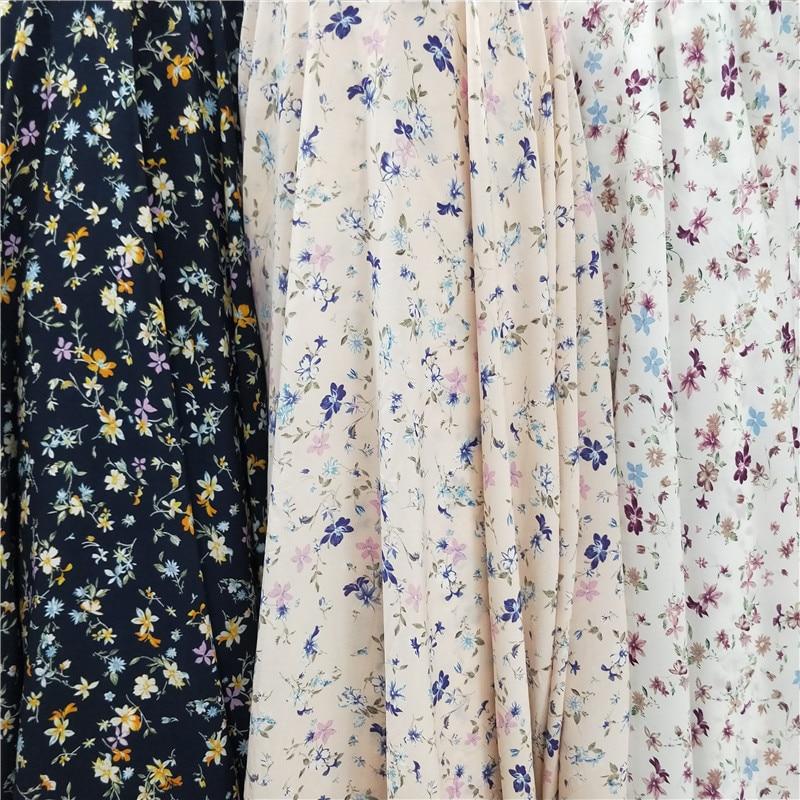 150cm * 100cm Colorful Floral Print Korean Silk Lightweight Fabric Dress Shirt Sleeves Shorts Skin-Friendly Breathable Fabric