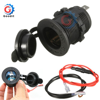 Waterproof 12V-24V Car Motorcycle Female Cigarette Lighter Power Socket Outlet with 1.5M Fuse Line Wire for GPS Cellphone MP3 image
