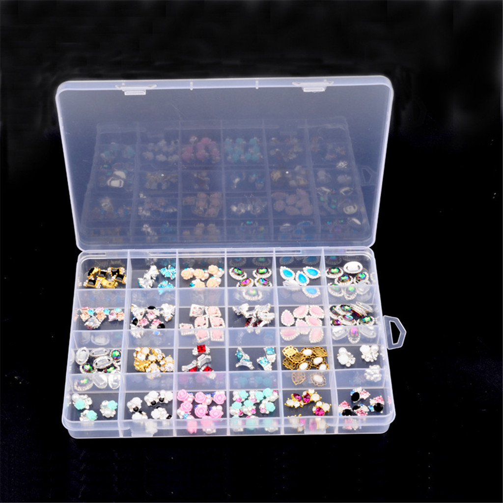 24 Grids Storage Box, Clear Plastic Organizer Bead Case For Nail Art Supplies, Jewelry, Earring, Charms And More