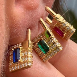 1pcs 2020 Fashion Gold Color Lock Shape Earrings For Women Men Statement AAA+ CZ Earring Femme Brinco Party Jewelry