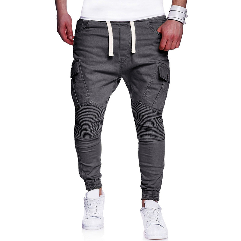 AliExpress Hot Selling 2018 New Style Men Fashion Pleated Joint With Drawstring Harem Casual Skinny Pants