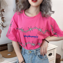 Vintage cotton Thorny loose summer female top pink o-neck sexy Harajuku women's T-shirt streetwear tee cloth Letter Short sleeve