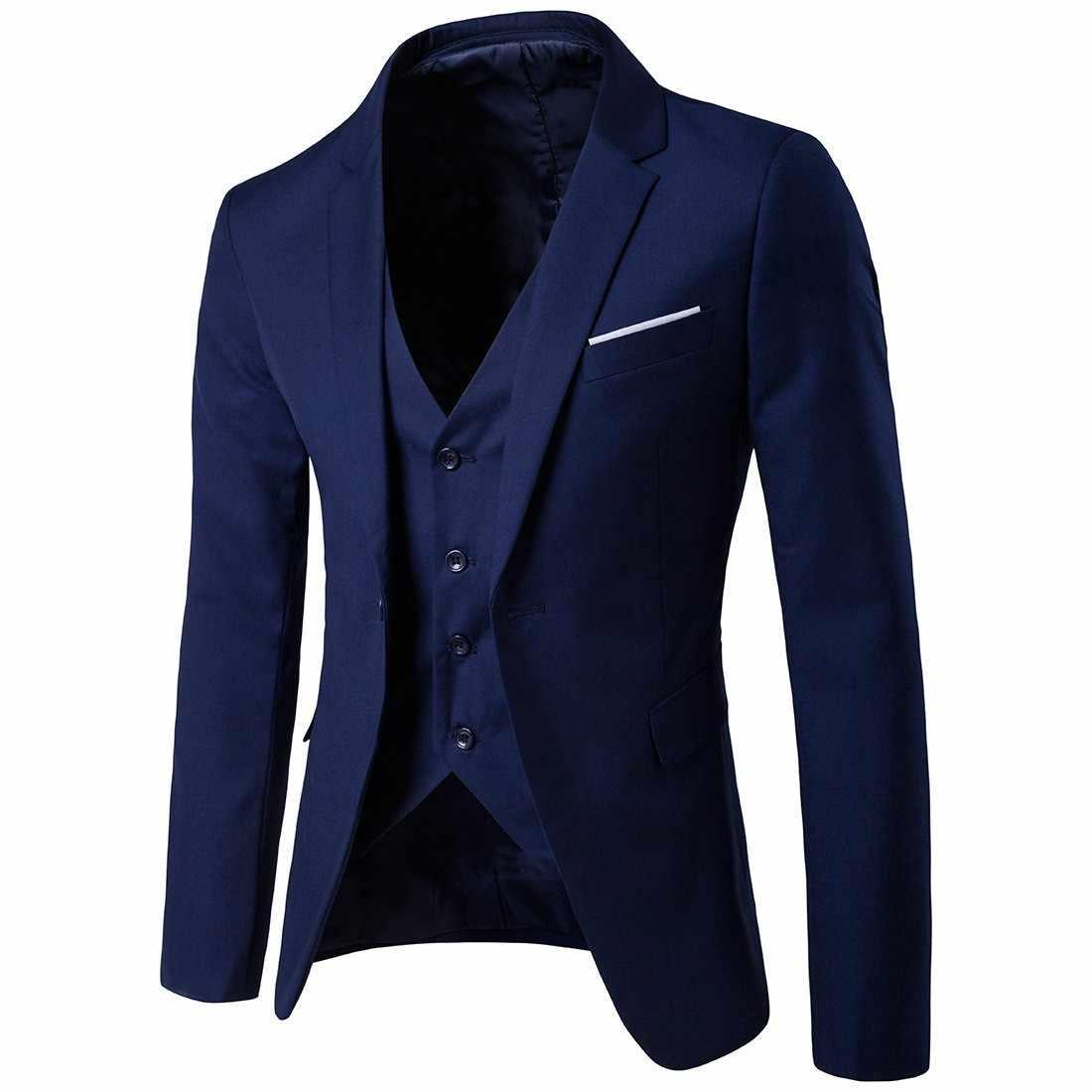 3 piezas de hombre de negocios Blazer + chaleco + pantalón conjunto de traje para hombre de oficina de trabajo Formal sólido Delgado boda conjunto Vintage clásico Blazers