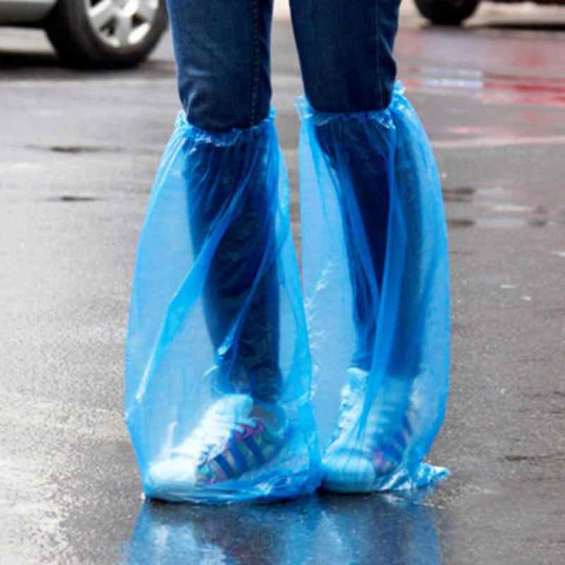 5 Pairs High Quality Durable Waterproof Thick Plastic Disposable Rain Shoe Covers High-Top Anti-Slip Rainproof Shoe Covers