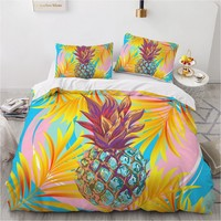 Set biancheria da letto 3D Set copripiumino a tema ananas colorato tessuto in microfibra facile da pulire per ragazzi Set letto per adulti Queen Size