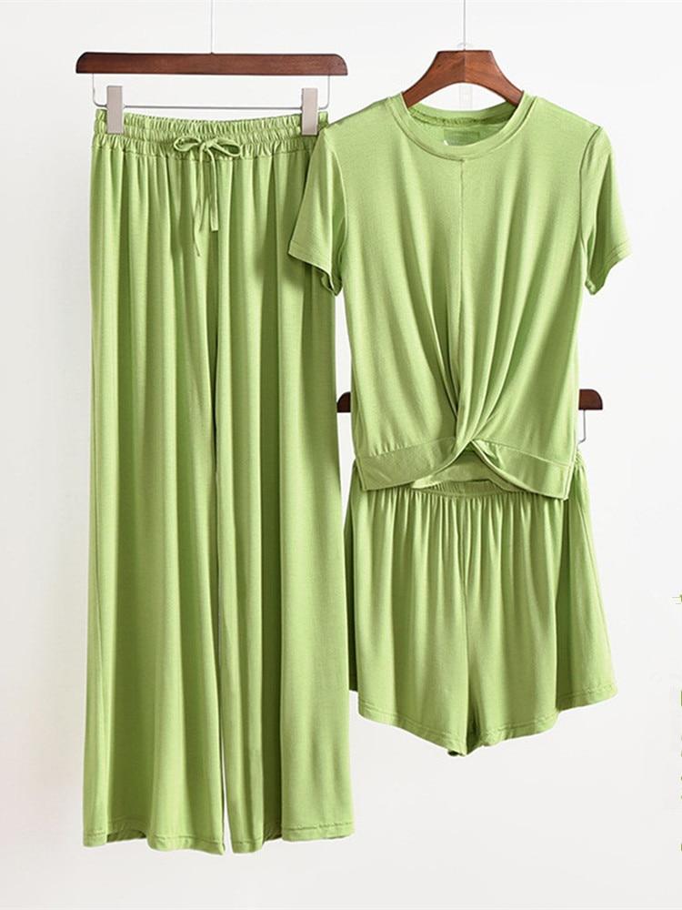 Home-Suit Pajamas-Set Sleepwear Modal 3piece-Set Women Ladies Female Gray for Atoff Loose