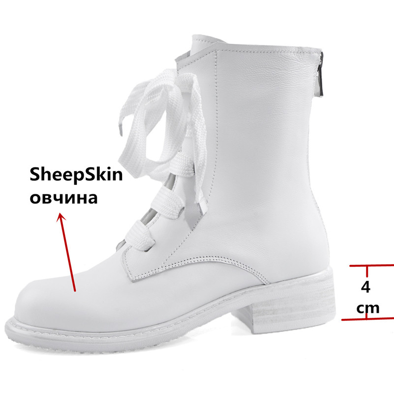 Image 3 - FEDONAS New Warm Comfortable SheepSkin Women Ankle Boots Cross Tied Zipper Platform Short Boots Winter Casual Party Shoes Woman-in Ankle Boots from Shoes