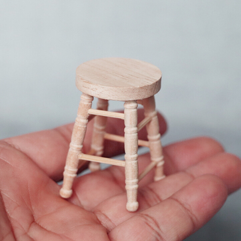 1pc 1/12 Dollhouse Miniature Accessories Mini Wooden Stool Simulation Chair Furniture Model Toys For Doll House Decoration