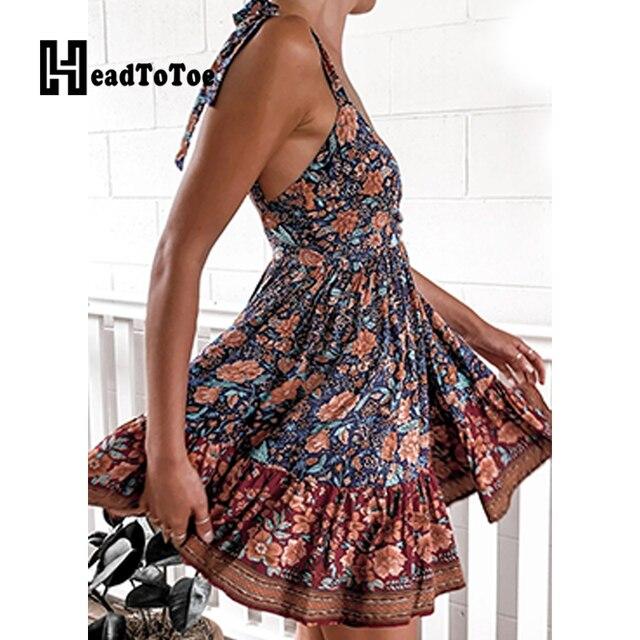 Sexy Backless Tie Strap Print Mini Dress Deep V Neck Women Casual Summer Dress 6