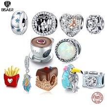 Винтажные бусины с лозой BISAER, круглые подвески из стерлингового серебра 925 пробы с опалом, блестящий кулон для браслета, ожерелья, ювелирные ...
