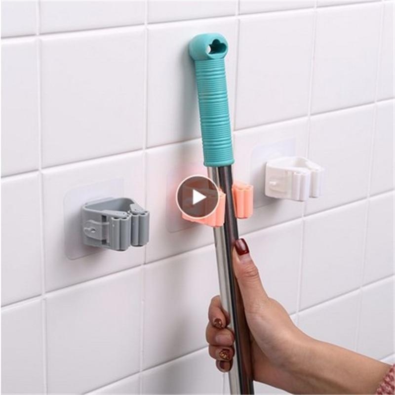 Multi Purpose Hooks Hooks Brush Holder Mop Organizer Broom Hanger Storage Adhesive Wall Mounted Rack Hanging Pipe Kitchen Tool