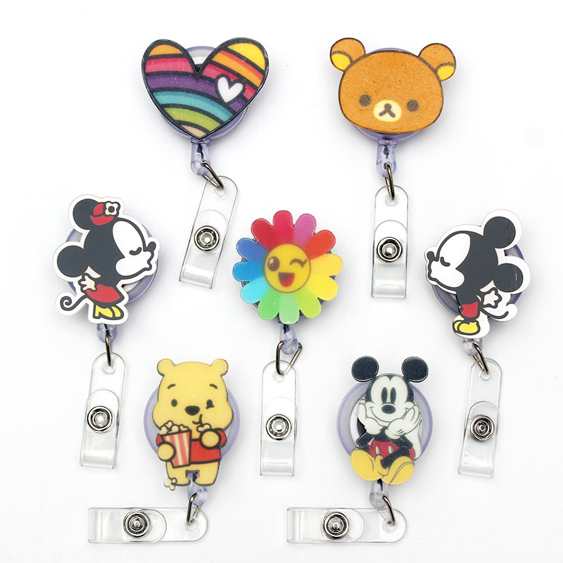 Cartoon Mickey Minnie Acrylic Retractable Badge Reel Nurse Doctor Student Exhibition ID Card Clips Badge Holder Stationery