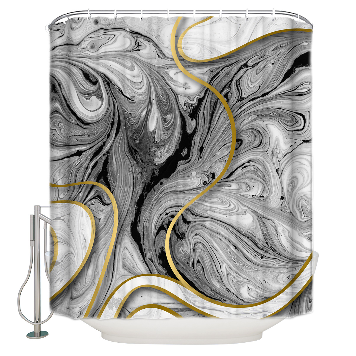 Grey Marble Texture Abstract Gold Polyester Fabric Bathroom Shower Curtain With Hooks Shower Curtains Aliexpress