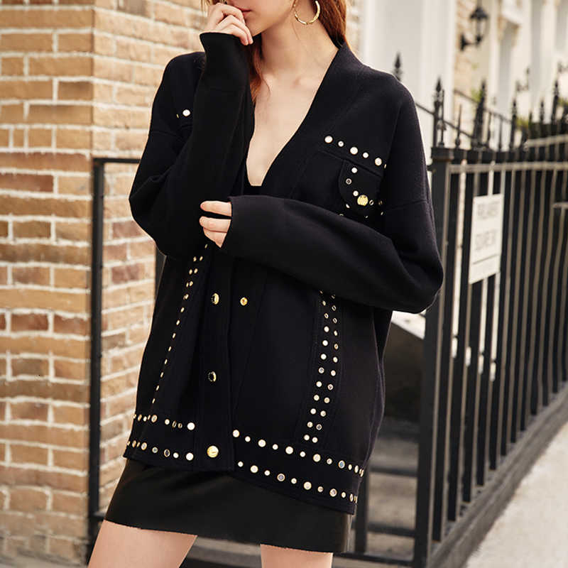 TWOTWINSTYLE 캐주얼 패치 워크 Sequined 뜨개질 스웨터 여성 브이 넥 긴 소매 카디건 스웨터 여성 2020 패션 의류