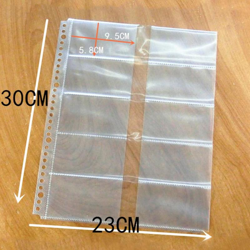 10pcs A4 Thick Loose-leaf File Sheets Core 30-hole Holder Postcard Card Business Double-sided Transparent Pocket Business C M1L7
