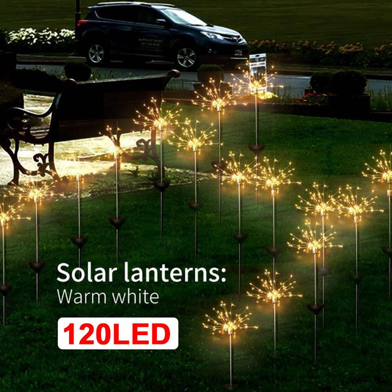Solar Energy Firework String Light Fairy Bouquet Dandelion Lights Solar Fairy Light Wedding Festival Xmas Decor Landscape Lamp