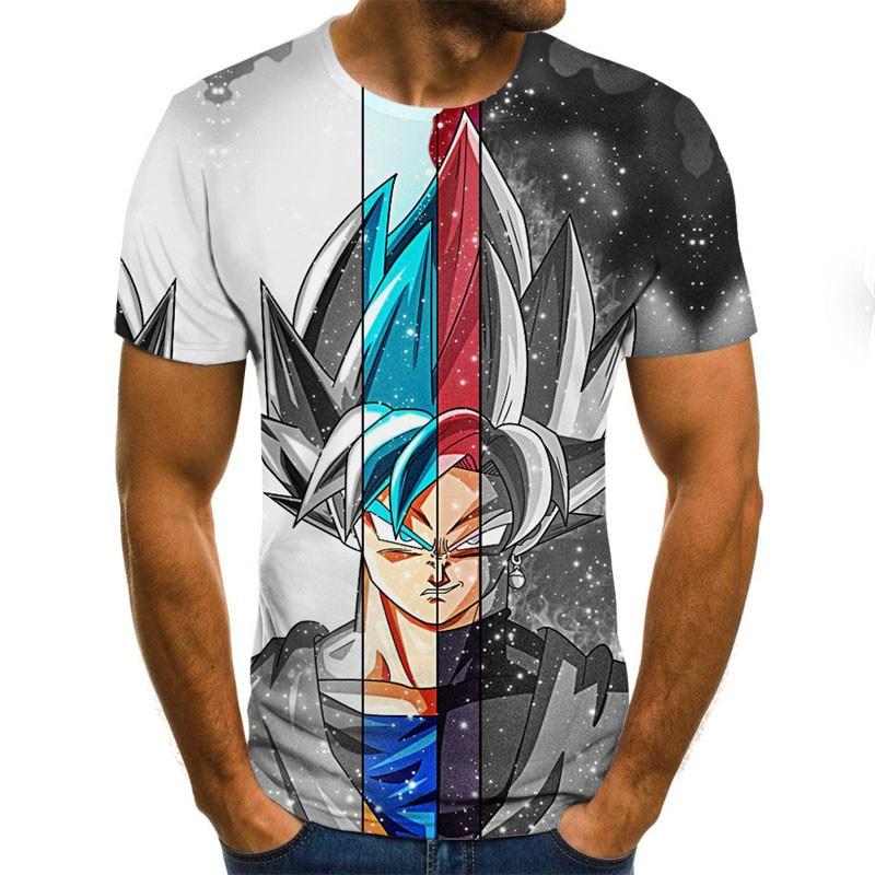 Super Saiyan 3D T Shirt Anime Dragon Ball Z Goku Summer Fashion Tee Tops Men / Boys Master Roshi Print Cartoon T-shirt Plus Size