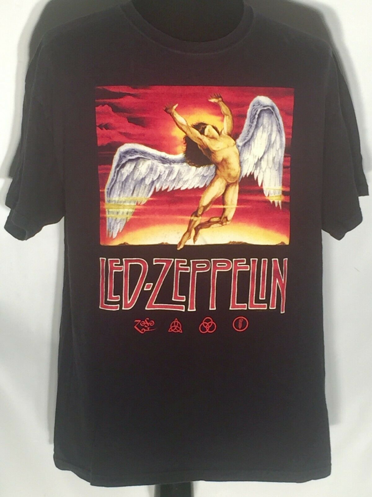 Vtg Led Zeppelin Icarus Logo Hard Rock Band Music Size Large Black T-shirt image