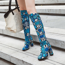 Plus Size 34-43 Women Winter Shoes Knee High Boots Snakeskin Pointed Toe Zip High Heels Long Boots Bottine Femme Fashion Winter