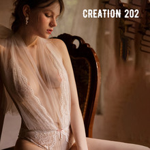Creation 202 Women's Sexy One-piece Suit Deep V Allure Lace One-piece Net Ribbon Can Be Used as Sexy Underwear