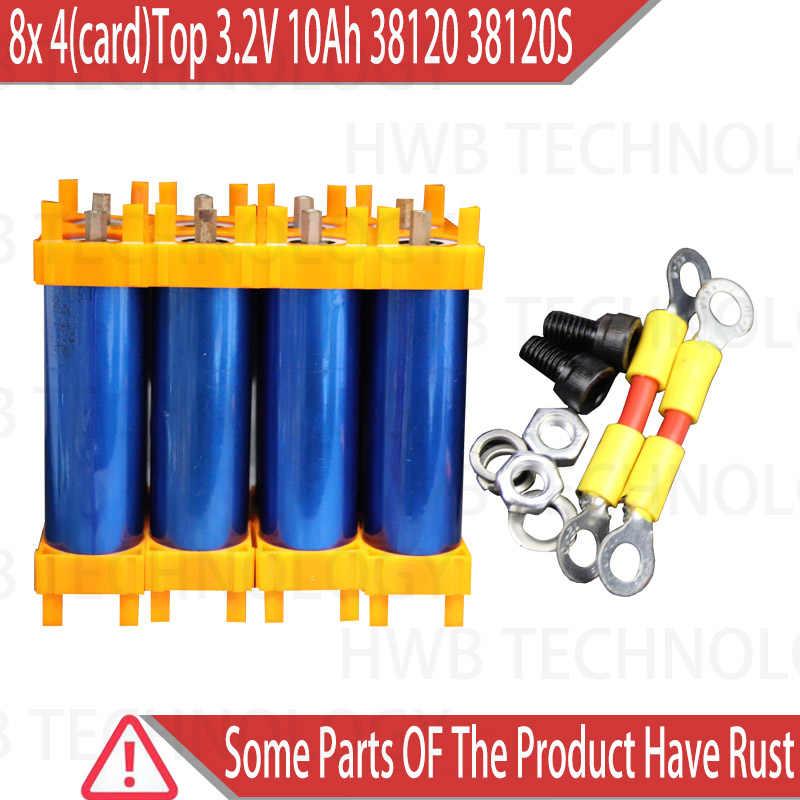 8x4 (carte) Top qualité 3.2V 10Ah 38120 38120S LiFePO4 batterie batterie Ele vélo batterie pour vélo avec connecteur Support et vis