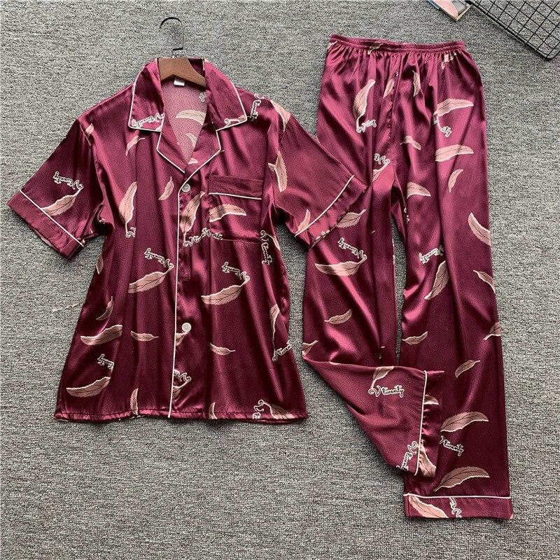 Elegant Burgundy Men Sleepwear Pajamas Set Exquisite Print Pyjamas Suit Nightwear Casual Soft Homewear Comfortable Home Clothes