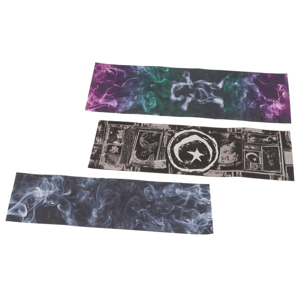 3pcs Digital Painting Anti Slip Sandpaper Long Board Skateboard Double Seesaw Grip Tape Deck Rough Scrub Abrasive Paper
